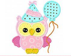 Chouette anniversaire avec ballon Applique -4 x 4 5 x 7 6 x 10-Machine Embroidery Applique Design