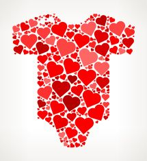 Baby Onesie Red Hearts Love Pattern vector art illustration
