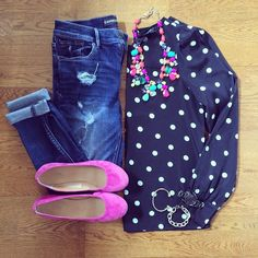 Polka Dot Blouse, Destroyed Denim Skinnies, Pink Flats, Color Mix Necklace | #weekendwear #casualstyle #liketkit | www.liketk.it/1jIUt | IG: @whitecoatwardrobe
