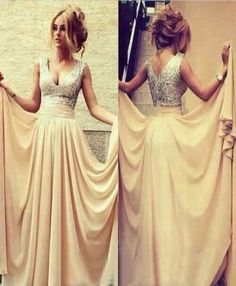 DIYouth.com Glitter Silver V-Neck Sleeveless Cream Sequin Chiffon Long Women Formal Prom Dresses, yellow evening dress, beaded prom dresses, formal bridesmaid dresses