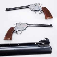GUN OF THE DAY – H&R Single-shot Pistol. Ever wonder about the difference in potential accuracy with short and long barrel lengths?  Our GOTD could help settle some disputes. If you look carefully along the barrel rib, holes have been spaced along its length that would allow the front sight to be shifted for position. With this gun, a shooter could see what accuracy could be noted at different distances.