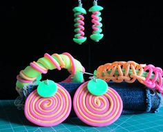 Funky neon jewelry by Kim Hale made with Makin's Clay® no bake air dry polymer clay - http://www.makinsclayblog.blogspot.com/2015/08/ultimate-clay-extruder-extruded-clay.html