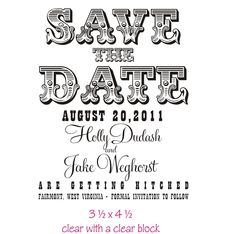 Large custom save the date rubber stamp for Make your own save the dates for your wedding. $38.00, via Etsy.