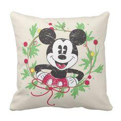 Vintage Mickey Mouse   Christmas Wreath Throw Pillow #custom #christmas #pillow #homedecor #holiday
