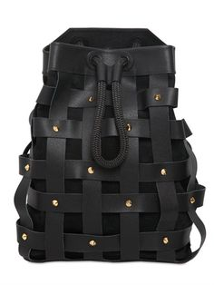 SALAR - JULES WOVEN LEATHER BACKPACK WITH STUDS