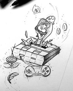 Tattoo Drawing – 75 Picture Ideas – Drawing Ideas and Tutorials Cartoon Drawings, Mario Art, Graffiti, Sketches, Art Drawings, Drawings, Tattoo Drawings, Gaming Tattoo, Drawing Sketches