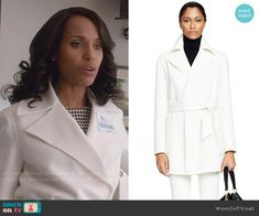 Olivia's white coat on Scandal.  Outfit Details: http://wornontv.net/53958/ #Scandal