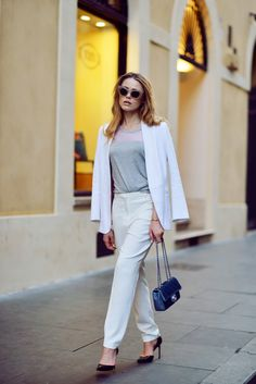 gray shirt with structured blazer and dress pants