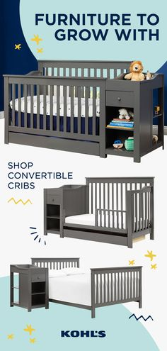 technology - Convertible cribs are the perfect nursery solution to take you through to the toddler years Discover a wide range of styles perfect for every nursery at Kohl's Baby Boy Rooms, Baby Bedroom, Baby Boy Nurseries, Baby Room Decor, Baby Cribs, Nursery Room, Girl Nursery, Baby Planning, Convertible Crib