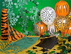 paper cut out decorations, tiger stripe table cloth, and of course, animal print balloons Jungle Party Decorations, Jungle Theme Parties, Safari Theme Party, Baby Shower Decorations, Shower Centerpieces, Baby Shower Themes, Baby Boy Shower, Shower Ideas, Hawaiian Baby Showers