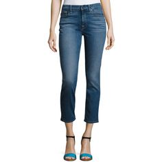 Jen7 Crop and Roll Straight-Leg Jeans ($149) via Polyvore featuring jeans, dark blue, high rise jeans, straight leg jeans, rolled up jeans, blue jeans and high-waisted jeans