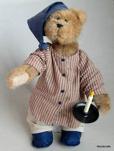 Boyds Bears Nightime Teddy with pewter Candlestick Holder