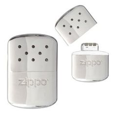 """Zippo Hand Warmer (The instructions say that you can't stop it, that once it's lit, it has to burn all the way down. However, you can! With the heater in its pouch, put it inside a ziplock bag and seal it. If you squeeze most of the air out of the bag before you seal it, the """"flame"""" dies out in a couple of minutes. You don't have to refill it to go again, as long as you haven't used up all the fuel.)"""