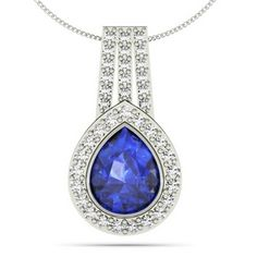 Sparkling necks piece with a combination of 14k white gold and a 2.000 carat pear shaped tanzanite.  Enclosed in 38 small and round diamonds of 0.590 carat - toptanzanite.com