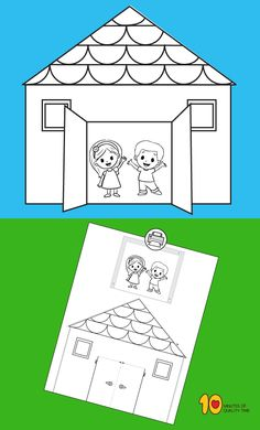 Paper House with Opening Doors - Simple and fun activities for kids - Toddler Crafts, Crafts For Kids, Family Theme, Easy Paper Crafts, Classroom Crafts, Family Crafts, Printable Crafts, Fun Activities For Kids, Preschool Activities