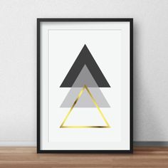 Geometric Print, Black and White, Scandinavian Art, Gold Geometric, Triangle…