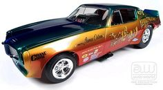 1970 Don Gay Firebird Funny Car 1:18 Scale Diecast Car.  Manufactured by Auto World, Legends of the Quarter Mile Series. Part #  Auto World AW206.  1:18 Scale Funny Car.  Click on the picture for more information about this diecast car!