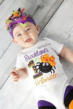 Halloween Spider matching family shirts are available embroidered Baby boy first outfit Scary