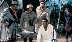 Sidney James, Kenneth Connor, Frankie Howerd and Bernard Bresslaw in Carry On Up The Jungle. 1970