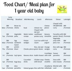 12 month Baby Food Chart/ Indian Meal Plan for 1 Year old baby 12 Month