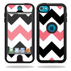 Protective Vinyl Skin Decal Cover for OtterBox Defender Apple iPod Touch 5G 5th Generation Case Black Pink Chevron