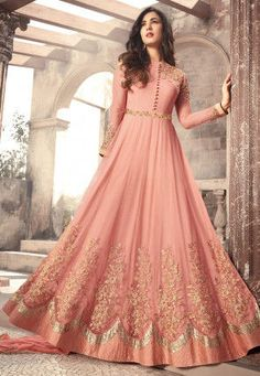 Sonal Chauhan Pink Color Net Designer Anarkali Suit latest designer silk punjabi, party wear georgette salwar suit, and in all fabrics available at VJV Costumes Anarkali, Anarkali Dress, Anarkali Suits, Anarkali Bridal, Lehenga Choli, Abaya Fashion, Indian Fashion, Fashion Dresses, Emo Fashion