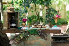 Desert table. Cocktails. cookie sandwiches. Vibrant bohemian wedding inspiration