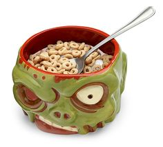 The Zombie Bowl sounds like Football for zombies, but it is actually a neat zombie head shaped bowl you can eat from.  Fill it with cereal or other foods, not brains. Just dump stuff right where the brains used to be. This is fun for -  - First pinned to TWD /Zombie Board here: http://www.pinterest.com/fairbanksgrafix/zombies-the-walking-dead-show/ #Zombie