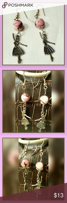"""HANDCRAFTED BALLERINA DANGLE EARRINGS HANDCRAFTED BALLERINA DANGLE EARRINGS, FROM A PINK & BROWN COLORED BALL.   FISH HOOK CLOSING MEASUREMENTS:1-1/4"""" L. ON THE BALLERINA; TOTAL DROP 3""""L. PURCHASED NEW FROM AN INDEPENDENT CRAFTER. 🚫MODELING Samantha  Accessories Jewelry"""