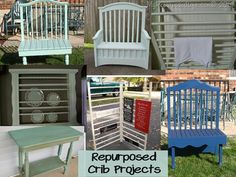 My Repurposed Life-Repurposed Crib Projects- photos