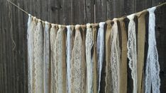 Wedding Burlap and Lace Garlands - Swag - Rag Tie on Etsy, $44.50  Cute idea. Can totally diy