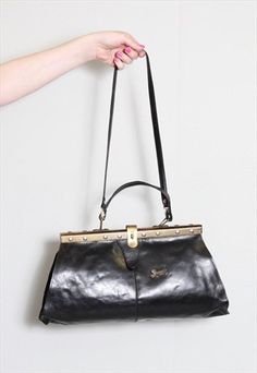 Vintage 1970's Black Leather Handbag