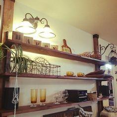 bu-bu-chanさんの、プランツハンガー,グラス,DIY棚,ディアウォール,アンティーク,鳥かご,照明,棚,のお部屋写真