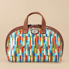 Fossil Key-Per large dome cosmetic in stripe. Love these colors!