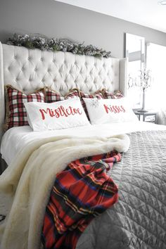 My Christmas bedroom | A Tufted Life, christmas, plaid, tufted headboard, cozy