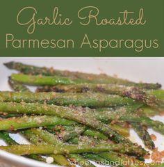 Garlic Roasted Parmesan Asparagus #asparagus #vegetables #sidedishes