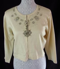 MAGGY LONDON Beaded Embellished Beige Silk Blend Holiday L Cardigan Sweater  $31.89