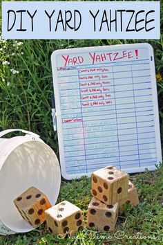 Yard Yahtzee and Summer Fun. Easy to make, fun to play! Yard Yahtzee and Summer Fun. Diy Yard Games, Backyard Games, Backyard Ideas, Family Yard Games, Cozy Backyard, Fun Outdoor Games, Fun Games, Outdoor Activities, Indoor Games