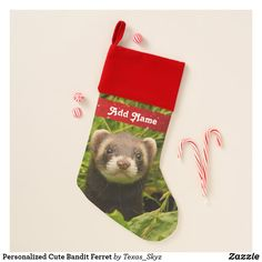 Personalized Cute Bandit Ferret Christmas Stocking Christmas Card Holders, Christmas Cards, Pet Christmas Stockings, Lily Potter, Santa Claus Is Coming To Town, Christmas Animals, Ferret, Party Hats, Keep It Cleaner