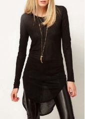 Autumn Essential Round Neck Black T Shirts for Woman