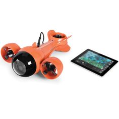 Submarine Camcorder - A remote operated submarine that sends live video to an iPad from 100′ underwater. Ideal for viewing marine life, the sub is tethered to its receiver on deck with a 100′ video cable.