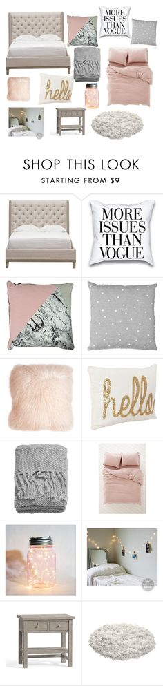 """Grey and pink bedroom"" by tpestell on Polyvore featuring interior, interiors, interior design, home, home decor, interior decorating, Vanguard, Pillow Decor, H&M and Urban Outfitters"