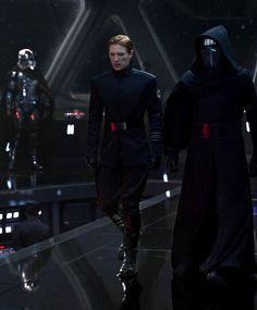 Domhnall Gleeson as General Hux with Adam Driver's Kylo Ren.