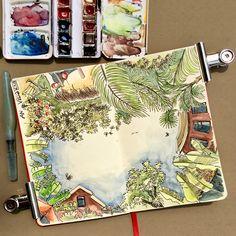 The sky above An Villa, Hoian, Vietnam Ted Baker, Vietnam, Villa, Sketches, Sky, Urban, Tote Bag, Bags, Drawings