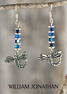 Dragonfly dangling hematite earrings Dragonfly earrings Blue drop earrings Statement earrings Hematite jewelry Dragonfly jewelry Gift ideas by WilliamJonathann on Etsy