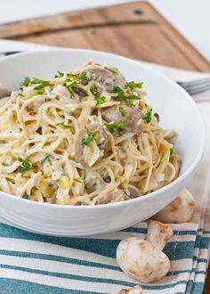 Creamy Parmesan Leek and Mushroom Pasta {Via @Courtney | Neighborfoodie}
