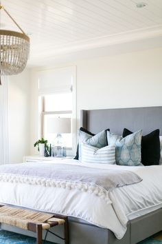 Tranquil blue hued bedroom: http://www.stylemepretty.com/living/2017/04/17/tour-a-modern-coastal-master-bedroom/ Photography: Ryan Garvin - https://www.ryangarvinphotography.com/