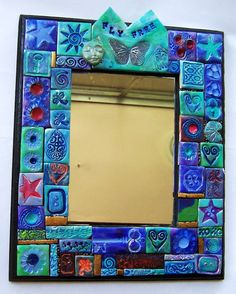 FLY FREE butterfly polymer clay mosaic mirror