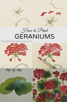 Painting red geraniums in a basket is not hard and makes such a bright and cheery sign, canvas painting or furniture decoration. Come learn with me how to paint some easy but lovely geraniums. One Stroke Painting, Tole Painting, Painting & Drawing, Painting Lessons, Painting Tips, Art Lessons, Painting Tutorials, Beginner Painting, Watercolor Flowers