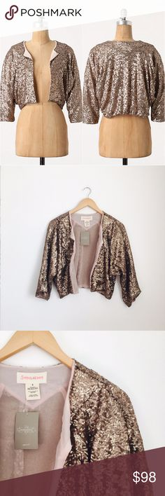 Stitch & Knot bolero Starshine bolero by Stitch & Knot. Slouchy sequined cropped jacket with 3/4 sleeves and open front. Polyester and polyester lining. Size S. NEW WITH TAGS. Anthropologie Jackets & Coats